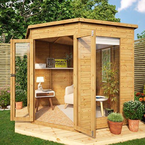 Casa esquinera de verano de Project Timber, de madera, de 2, 13 x 2, 13 m aproximadamente, se puede desmontar : Amazon.es: Jardín