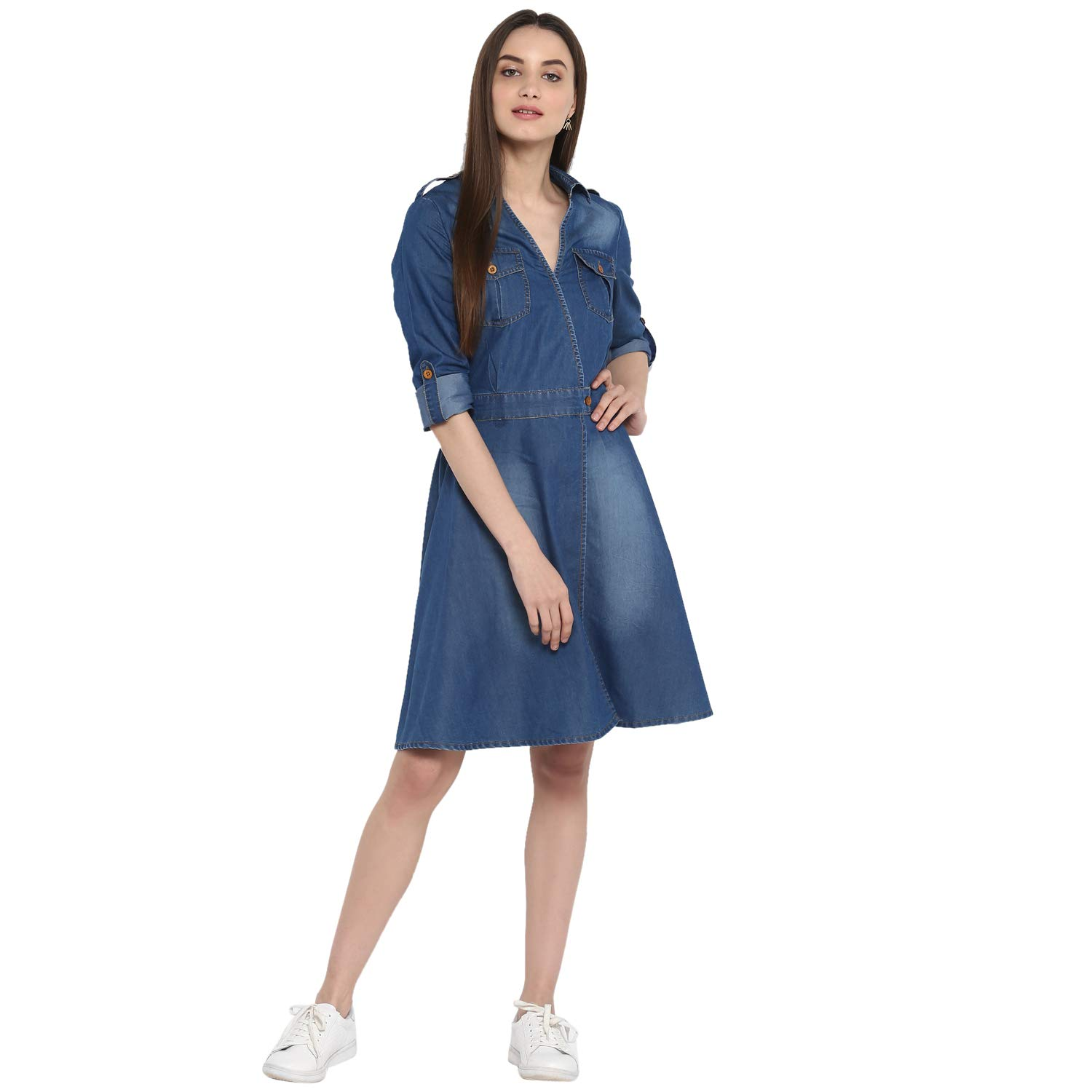 8e49cafd43d StyleStone (3323DnmCrossBtnDrs Women s Denim Dress with V Neck  Amazon.in   Clothing   Accessories