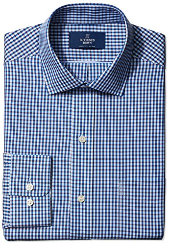 Buttoned Down Men's Classic Fit Spread-Collar Small Check Non-Iron Dress Shirt, Blue/Brown, 16.5 35 (Classic Collar Shirt)