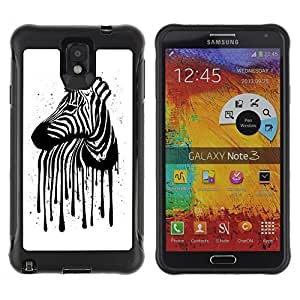 Hybrid Anti-Shock Defend Case for Samsung Galaxy Note 3 / Zebra Stripes Art painting