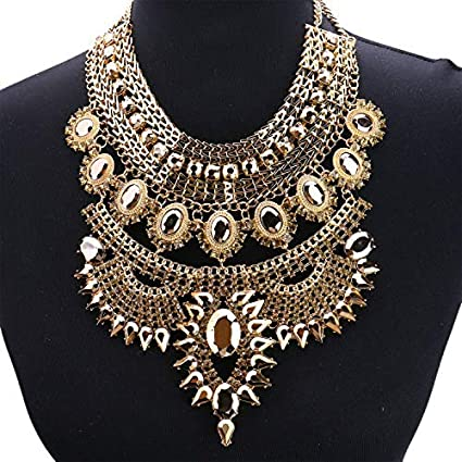 New Gold Plated Chain Colorful Resin Pendant Chunky Statement Necklace for Women