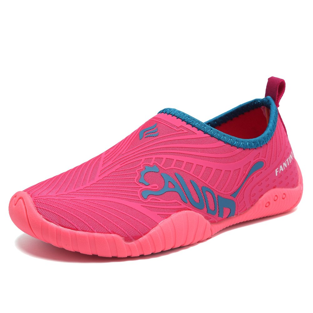 CIOR Kids Water Shoes Quick-Dry Boys and Girls Slip-On Aqua Beach Sneakers (Toddler/Little Kid/Big Kid),VY03,3rose Red,32