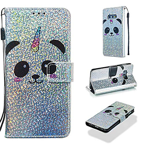 Case for Galaxy S10E/S10 Lite,Sparkly Glitter PU Leather Inner Bumper Wallet Case Slim Kickstand with Magnetic Card Slots and Strap Shock Absorbent Compatible with Samsung Galaxy S10E/S10 Lite -Panda
