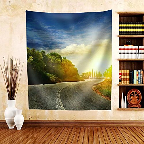 Gzhihine Custom tapestry the Road in the Mountains to the Sea - Fabric Tapestry Home Decor - Outlets Phila