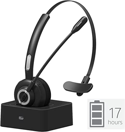 Amazon Com Golvery Bluetooth Office Headset With Boom Mic Wireless Cvc6 0 Noice Cancelling Headset With Charging Cradle Supports Mute Function Multi Point 17 Hours Talking Time For Pc Skype Cell Phone Home Audio