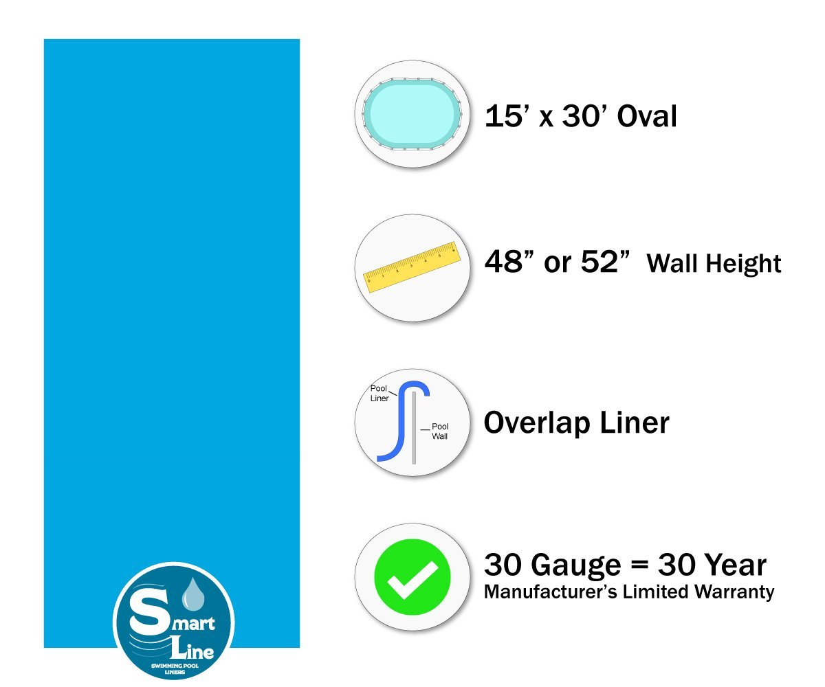 Overlap Style 20 Gauge Virgin Vinyl 48-to-52-Inch Wall Height Designed for Steel Sided Above-Ground Swimming Pools Smartline Antilles Dolphin 15-Foot-by-30-Foot Oval Liner
