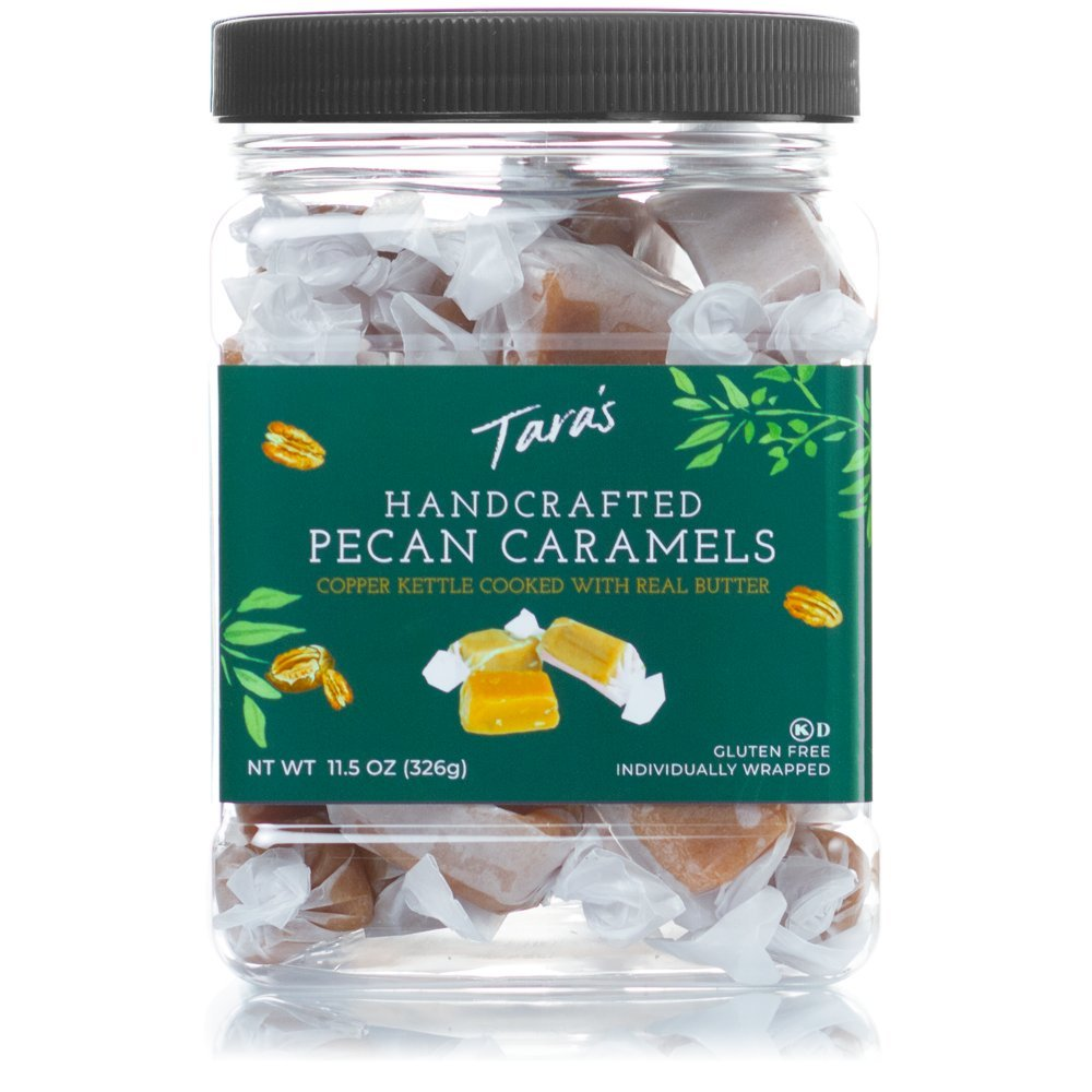Tara's All Natural Handcrafted Gourmet Pecan Flavored Caramel: Small Batch, Kettle Cooked, Creamy & Individually Wrapped - 11.5 Ounce, Package may vary