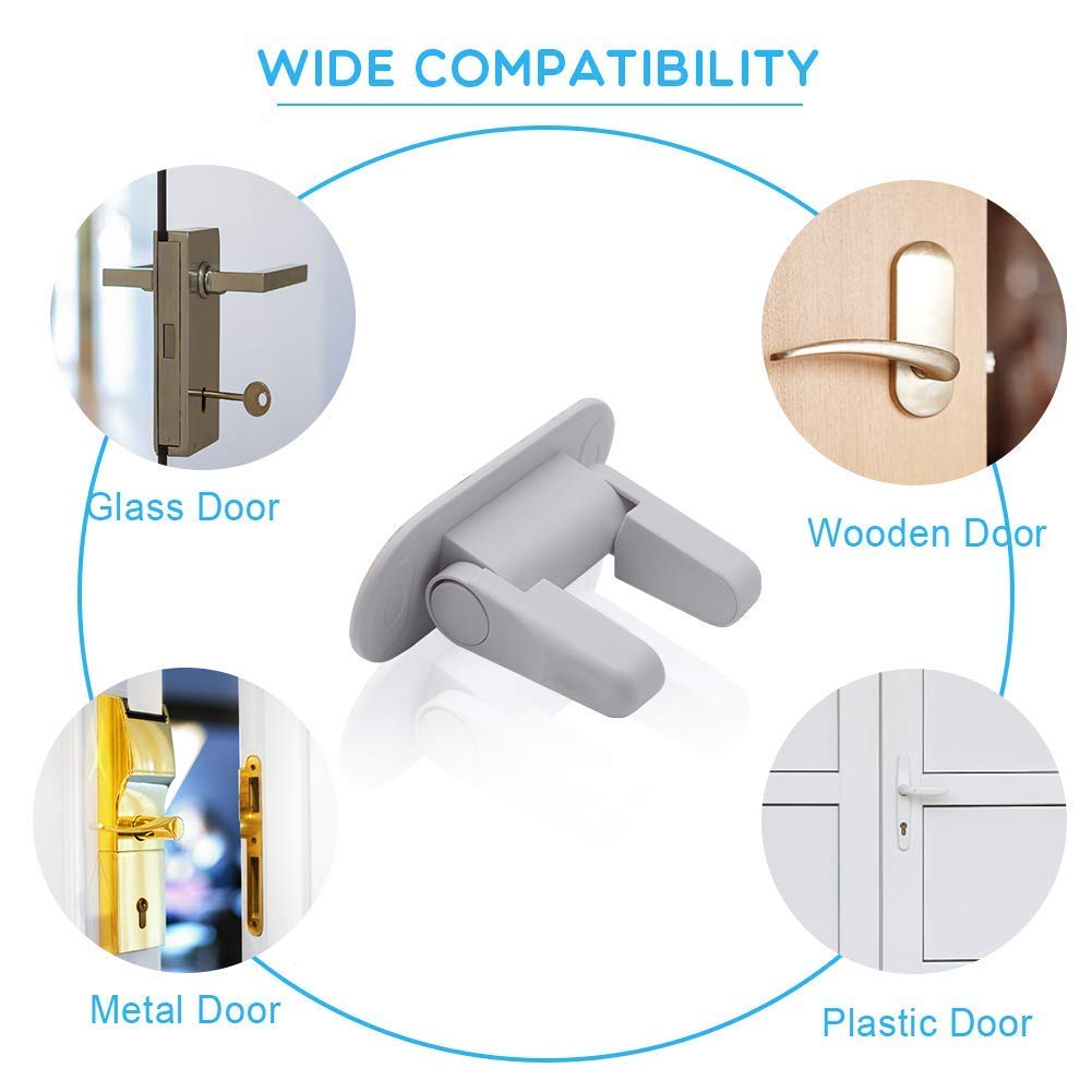 Door Lever Lock- Upgrade Child Proof Doors & Handles 3M Adhesive -Child Safety Proof Door Lock (2Pack) by Good Life Home Product (Image #4)