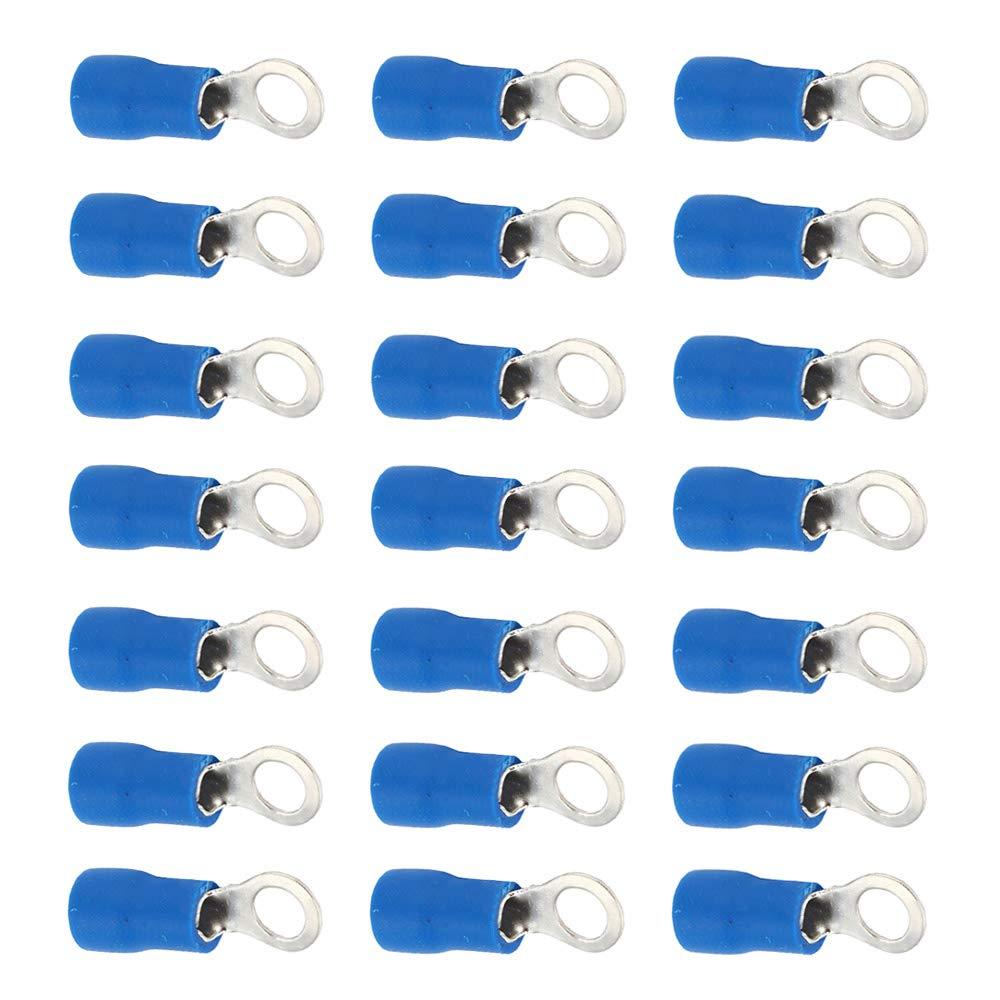Mintice 100 X Azul Cobre Anillo a Tope Aislado Conectores terminales Calibre 16-22 AWG rizar Alambre Cable el/éctrico engarzado crimpadora inal/ámbrico M4