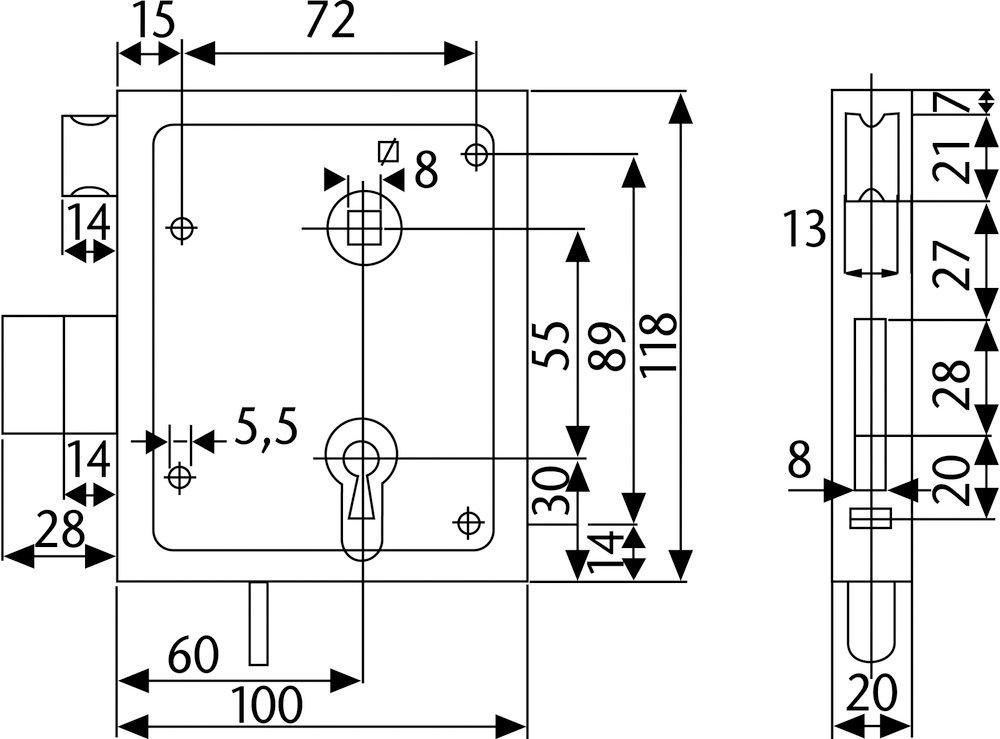 ABUS Aufschraubschloss ASS mit Buntbartschl/üssel 21513