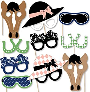 Big Dot of Happiness Kentucky Horse Derby Glasses/Masks/Headpieces - Paper Card Stock Horse Race Party Photo Booth Props Kit - 10 Count