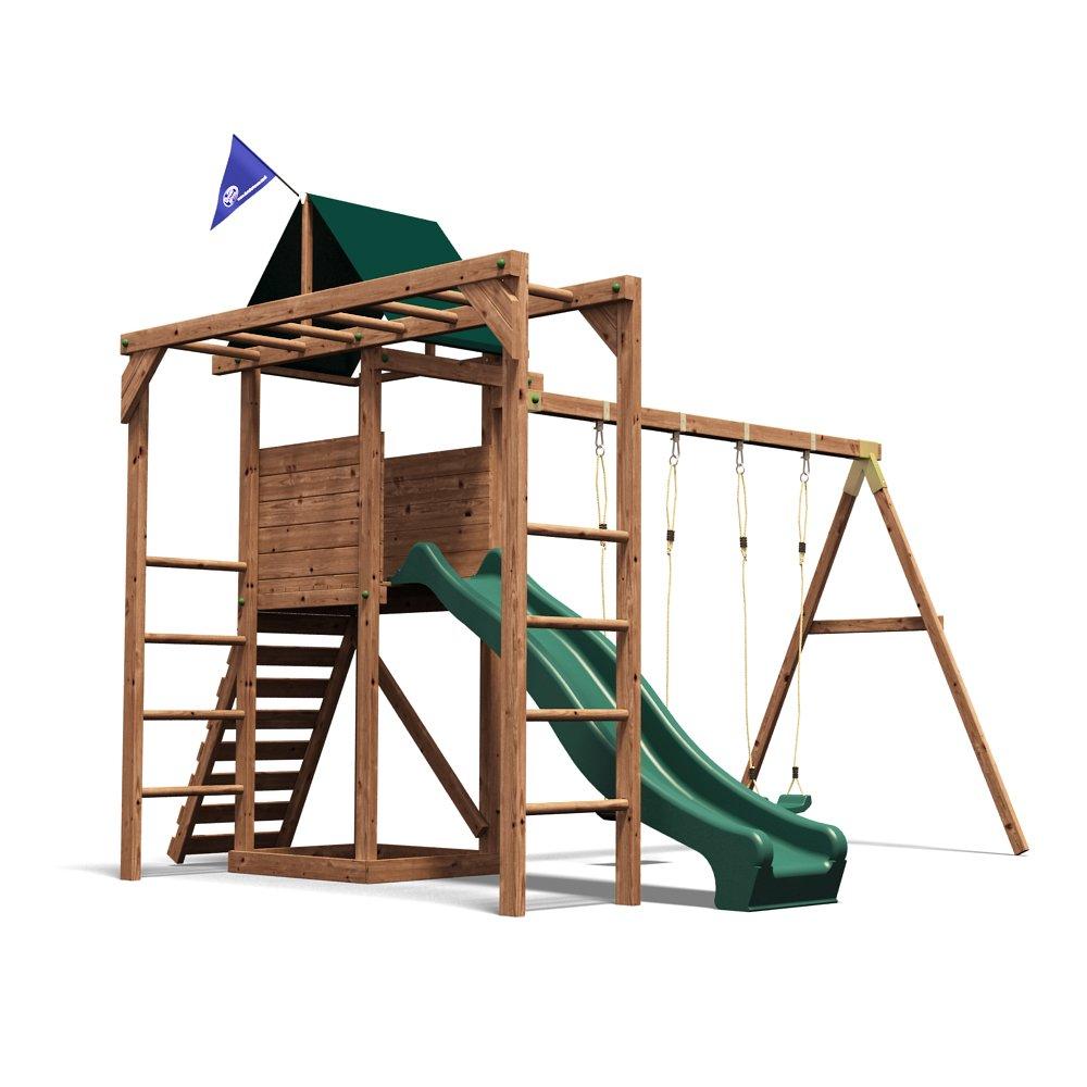 Dunster House Monkey Bar Climbing Frame Garden Playhouse Slide Swing ...