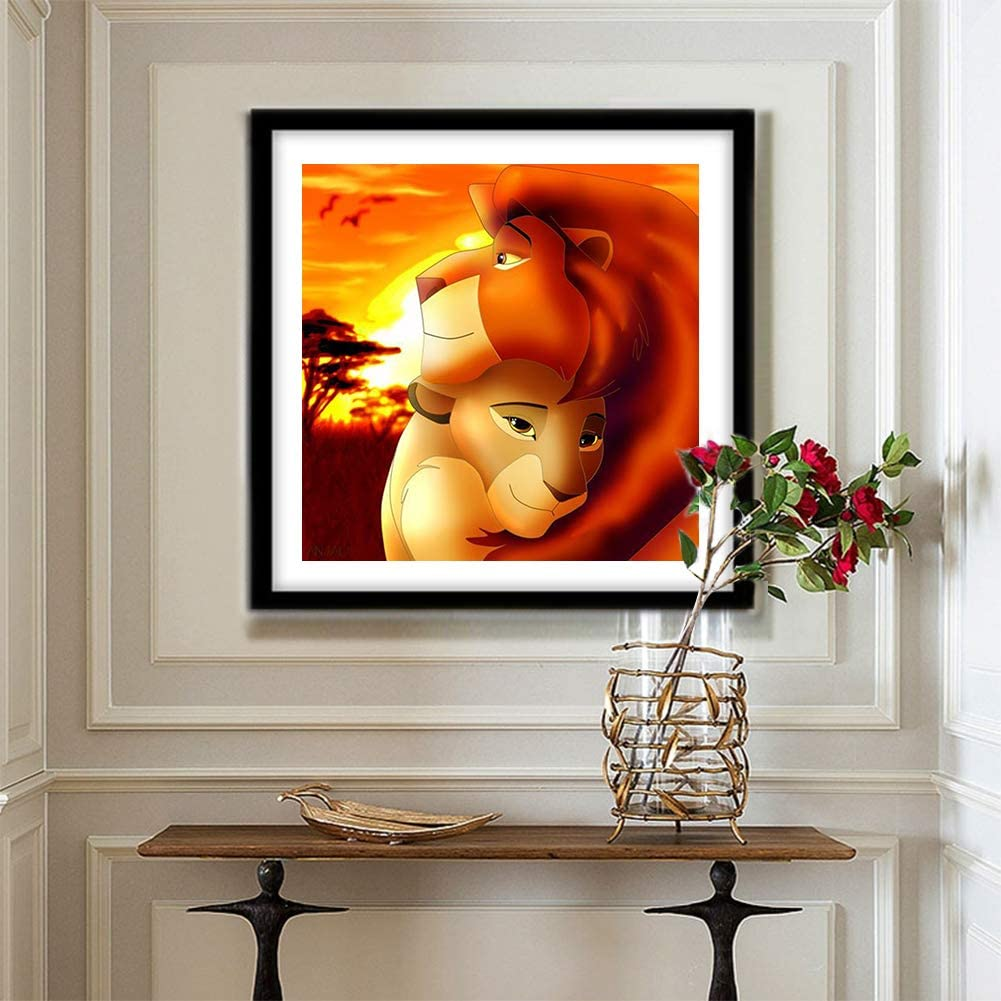 Lion 12X12inches 5D Diamond Painting kit Complete Diamond Embroidery Painting DIY Embroidery Cross-Stitch for Home Wall Decoration