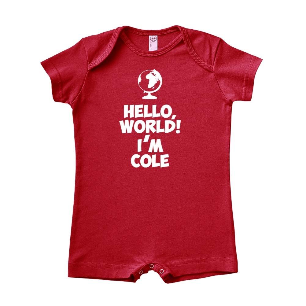 World Mashed Clothing Hello Im Cole Personalized Name Baby Romper