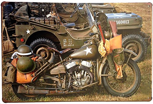 ERLOOD War Cars Motorcycle Vintage Home Decor Wall Tin Sign 12