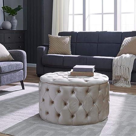 Duhome Tufted Velvet Fabric Round Ottoman Bench Beige