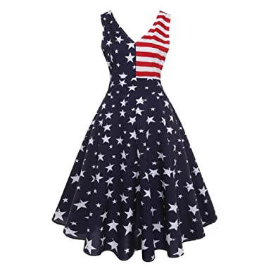 Women Independence Day Dress,Todaies Women Vintage Sleeveless V Neck Dress American Flag Printing Evening