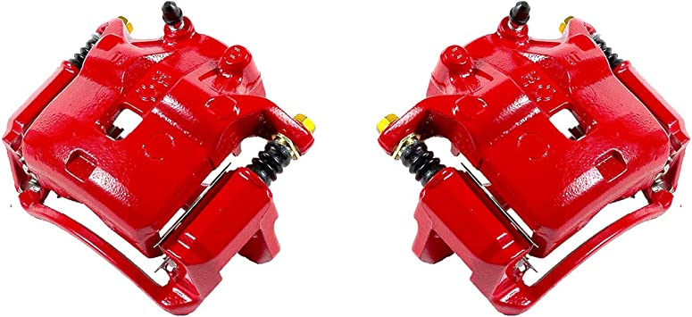 2 FRONT Premium Semi-Loaded Red Coated Caliper Pair Hardware Brake Kit Callahan CCK03786