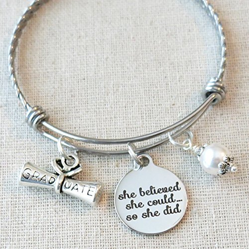 Graduation Gift BANGLE, She Believed She Could So She Did GRAD Gift, High School College Nursing Graduate, Gifts For - Grads For College Gifts