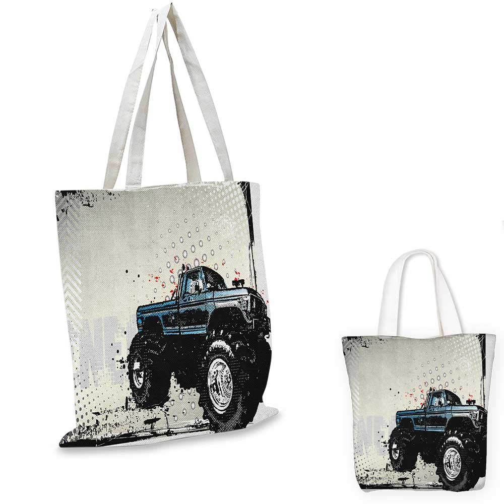 12x15-10 Truck canvas messenger bag Lowrider Pickup with Racing Flag Pattern Background Speeding on the Streets Modified canvas beach bag Multicolor
