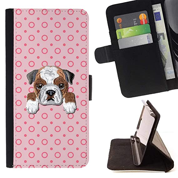 8e7364920ac1 Image Unavailable. Image not available for. Color    BULLDOG   Embroidered  Cute Dog Puppy Leather Wallet Case FOR Apple iPhone SE   5
