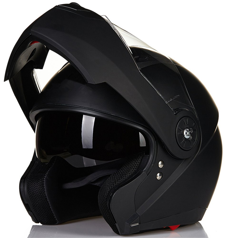 ILM 8 Colors Motorcycle Modular Flip up Dual Visor Helmet DOT (M, Matte Black)