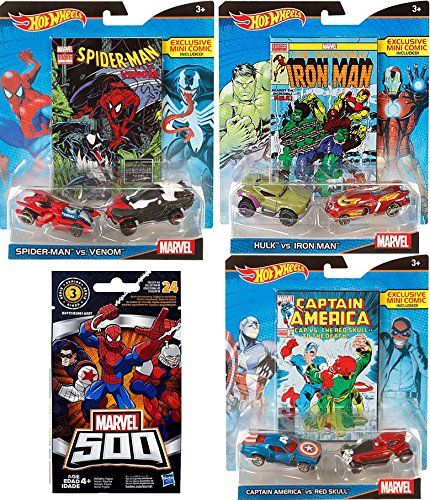 Red Skull Avengers Costume (Hot Wheels Marvel 3 PACK Hulk vs. Iron Man + Captain America vs. Red Skull + Spider-Man vs. Venom all with Exclusive Mini Comics 6 car collection + Marvel 500 series3 Blind Bag figure)