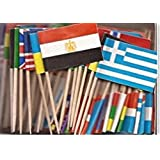 1 Box of Assorted World Toothpick Flags, 100 Small Assorted Country Olympic Flag Toothpicks or Cocktail Sticks & Picks