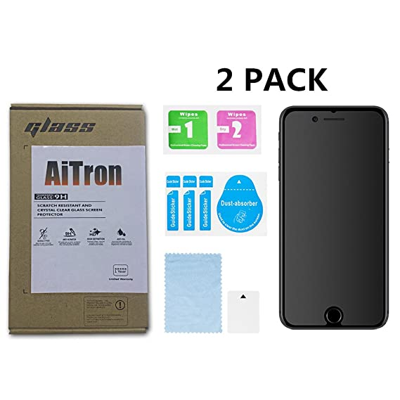 new product f4314 94f36 iPhone 6S and iPhone 6 Matte Tempered Glass Screen Protector, [2 Pack]  AiTron Anti-Glare/Anti-Fingerprint Glass Screen Protector Compatible for  Apple ...