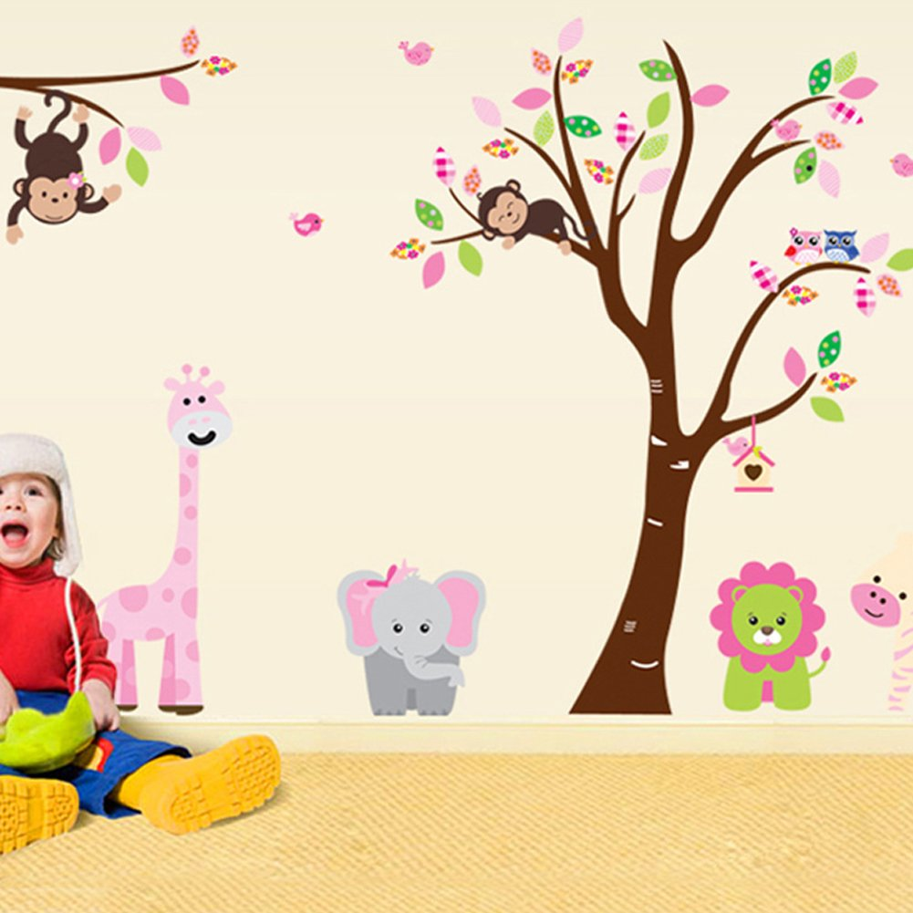 Amazon.com: Cartoon Cute Monkeys Big Trees Removable Wall Stickers Home  Decor Decals For Childrenu0027s Room Nursery, Set Of 2 Sheets (animal Tree):  Baby Part 62