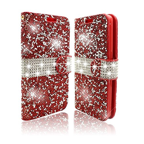 Vandot Apple iPhone 6Plus/6S Plus 5.5 inch Case,Exclusive PU leather Magnetic Closure Flip Folio Stand Book Style Cover 3D Diamond Crystal Rhinstone Bling Shiny Shining Wallet Case With Card Slots [Slim Fit] [Shockproof] Protective Skin Pattern-Glitter Red