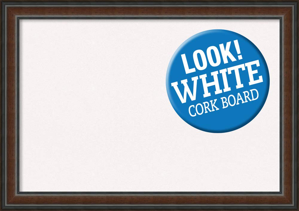 Amanti Art Outer Size 41 x 29 Framed White Cork Board Extra Large, Cyprus Walnut