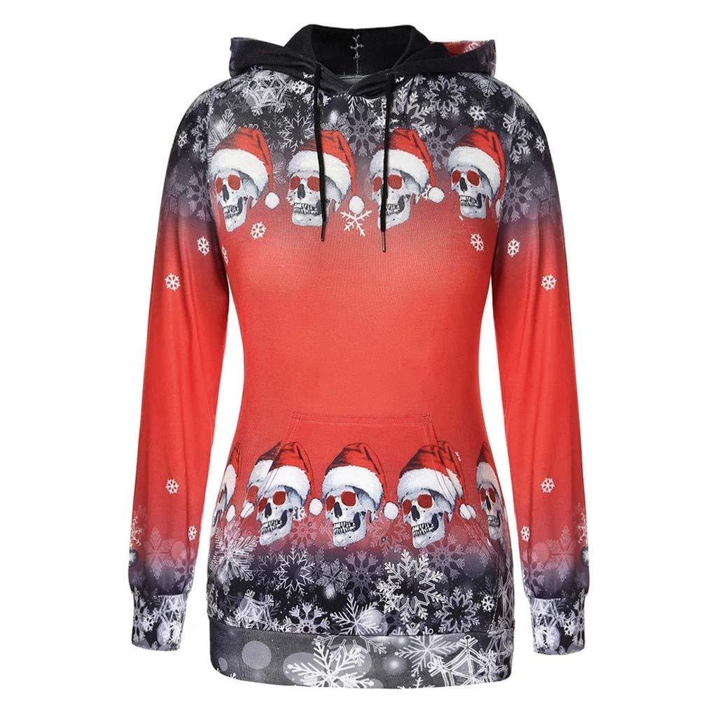 Mode pour Dames Halloween Cr/âNe De No/ëL avec Halloween Imprim/é /à Manches Longues Sweat /à Capuche Pull Sweat Tops Sunnywill Sweat De No/ëL