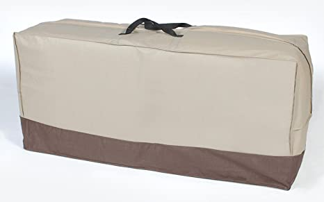 Superieur Durable Outdoor Patio Chair Cushion Storage Bag   Taupe With Brown Trim
