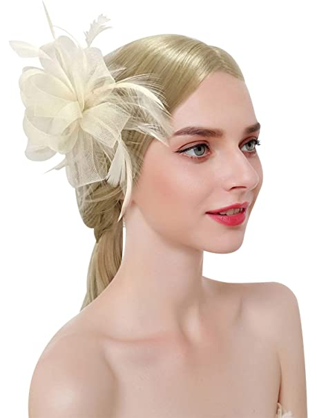 Z X Women Feather Flower Fascinator Hat With Hair Clip Brooch For Cocktail Wedding