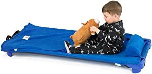 ROLLEE POLLEE Preschool and Daycare Roll Up Napping Blanket with Attached Pillow, Super Soft with Elastic Straps for Securing onto Standard Mats and Cots (Royal Blue)