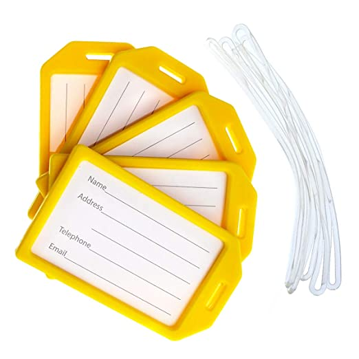 346e1511678a 5 Pack of Premium Rigid Luggage Tag Holders with 6