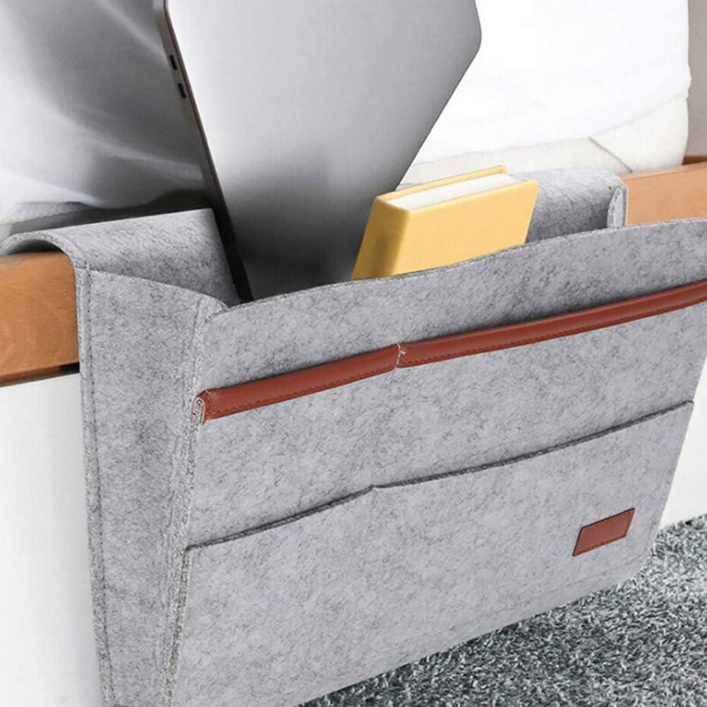 Organizador de cabecera,bolsa de cama,bolsa de almacenamiento para colgar en el sof/á,sala de estar del dormitorio,bolsa de almacenamiento antideslizante,con gafas,libros,tel/éfono m/óvil,control remoto
