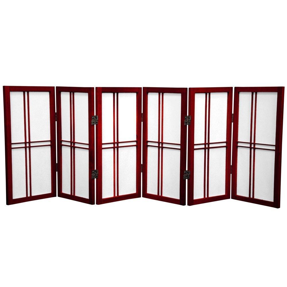 Oriental Furniture 2 ft. Tall Desktop Double Cross Shoji Screen - Rosewood - 6 Panels