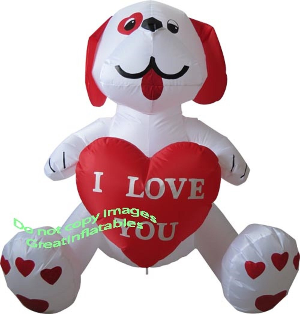 Valentines Day Inflatable ''I Love You'' Puppy Dog Holding Heart