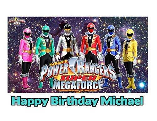 (Power Rangers Super Mega Force Image Photo Cake Topper Sheet Personalized Custom Customized Birthday Party - 1/4 Sheet - 79803)
