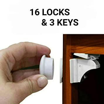 Roll over image to zoom in Magnetic Cabinet Locks Child Safety Kit Drawer,Cupboards-Upgrade Adhesive Magnet Drawers Locks No Drilling Or Screws Needed 12 Pack Invisible Baby Proofing Locks for Cabinet