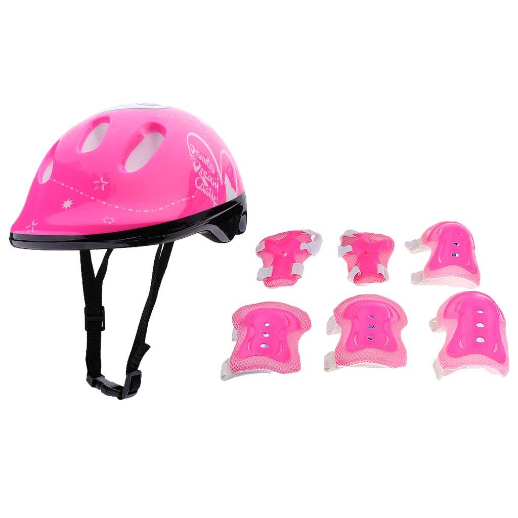 Prot/ège-Poignet Coudi/ères Genouli/ères pour ENFANTS Baoblaze Set de Protection de Patinage V/élo Cyclisme Avec Casque Protecteur