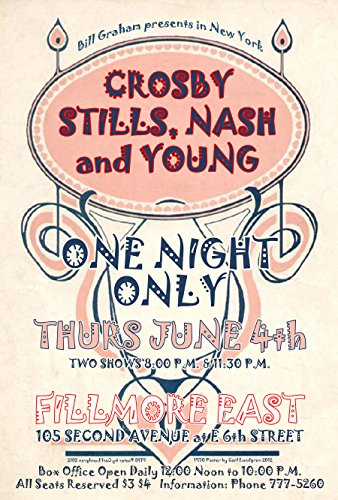 Crosby, Stills, Nash and Young at the Fillmore East, New York, 1970 Concert Poster 19
