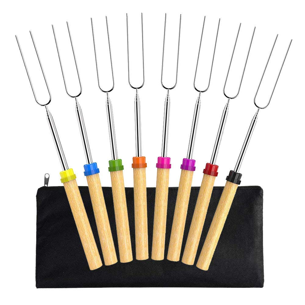 Arola Marshmallow Roasting Sticks Set of 8, Stainless Steel Telescoping Rotating Smores Skewers 32 Inch - Hot Dog Forks & Kids Camping Campfire Fire Pit Accessories