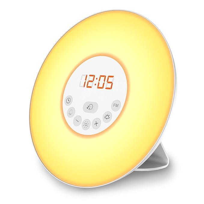 B.K.Licht LED Wake Up Wecker   Wake Up Light   Lichtwecker   Radiowecker    FM Radio Digital   Kinderwecker Mädchen Jungs   Nachtlicht Tageslichtwecker  Mit 7 ...