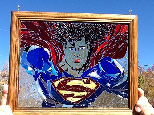 Stained Glass Superman Window Art Sun Catcher, Comic Con, Superhero