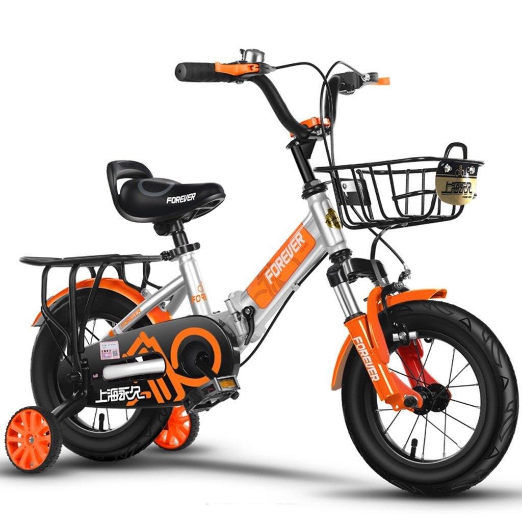 CSQ 折りたたみ自転車、少年少女ペダル自転車小児個々の自転車2~12歳の赤ちゃん補助車輪と自転車88~128CM 子供用自転車 (色 : オレンジ, サイズ さいず : 88CM) B07DPP4GFH 88CM|オレンジ オレンジ 88CM