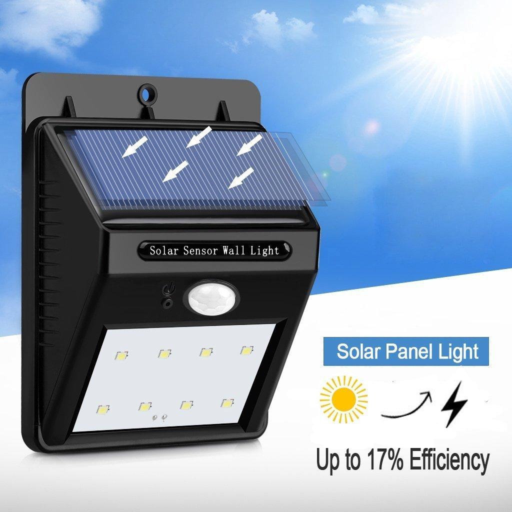 Led Solar Exterior,Luz Solar Jardín 8 LED, Gran Ángulo 120°, Impermeable, Proporcionar hasta 12 horas con 3 Modos y Sensor de Movimiento Solar para Jardín, ...