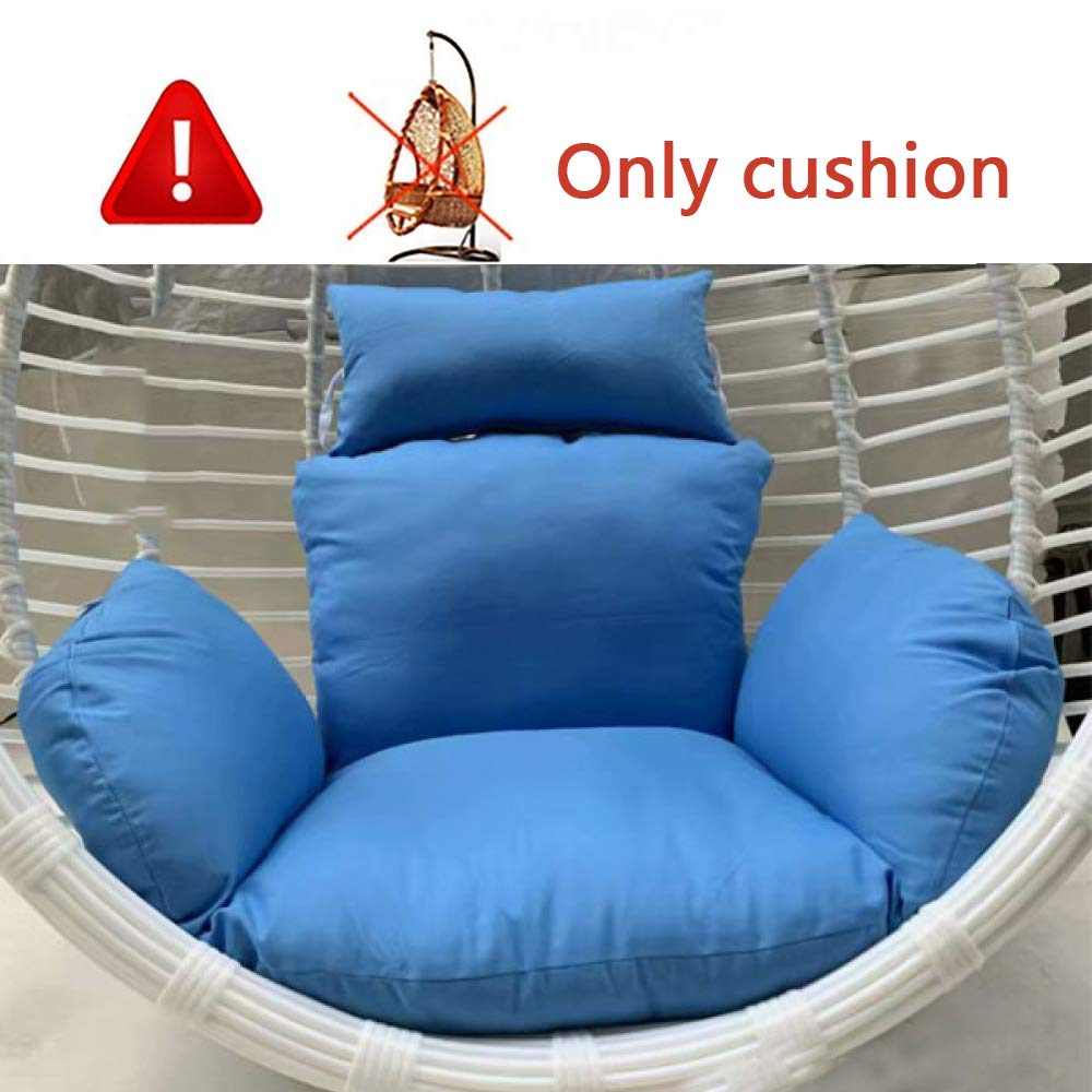 MonthYue Hanging Egg Hammock Chair Cushions, Multi Pattern Swing Seat Cushion Full Cotton Padding Thick Nest with Pillow,Blue by MonthYue